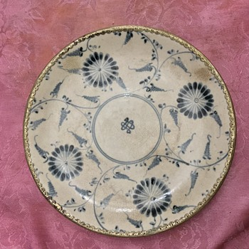 Very old Chinese ? Delft ? Hand painted sterling silver trim antique porcelain plate - China and Dinnerware