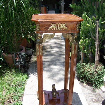 Heavy Egyptian Revival Wooden Spinx Plant Stand