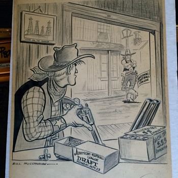Sports Editorial Original Art work from Bill MCCLANAHAN 1959 AFL Draft - Football