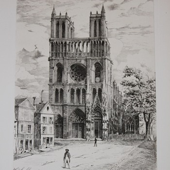 Eglise de Mantes sketch 1875, H. Saffrey - Posters and Prints