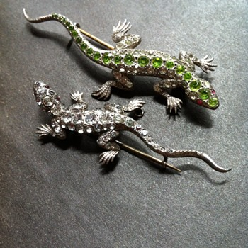 Same unknown maker, 2 paste and silver lizards.