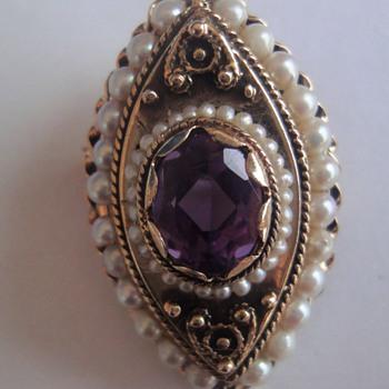 Stunning Victorian Amethyst (1880-1900)pin brooch  - Fine Jewelry