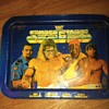 Metal TV Tray with Wrestlers on it. Ultimate Warrior on it