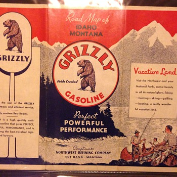1940 Grizzly Gasoline Idaho Montana red letter sign road map - Petroliana