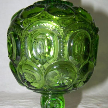 L.G. Wright MOON & STARS Glass GREEN Covered Compote Candy Dish - Kitchen