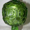 L.G. Wright MOON & STARS Glass GREEN Covered Compote Candy Dish
