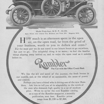 Rambler Automobile Ad - 1909
