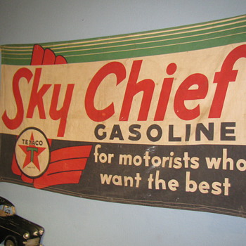 My Grandpas Canvass Sky Chief Sign - Petroliana