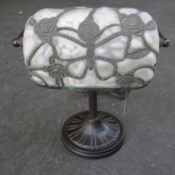 Vintage Art Deco Brass Molded Glass Shade Iron Base Student Library Bankers Lamp - Art Deco