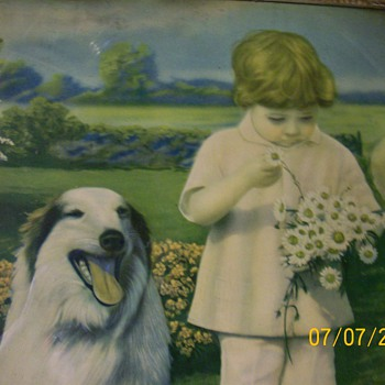 Old Lithograph that hung In My Grandmothers house . - Animals