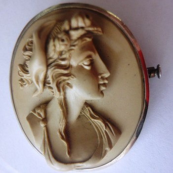 19s Lava Cameo brooch set in silver.