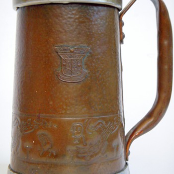Copper &amp; Aluminum Stein with School Crest~1953,....Greek Letters - Breweriana