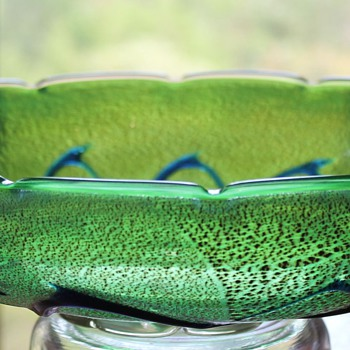 "Yukio Ueno ""Green Dream"" Bowl - Art Glass"