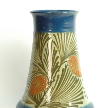 french art nouveau pottery vase by LEON ELCHINGER with pinecone pattern