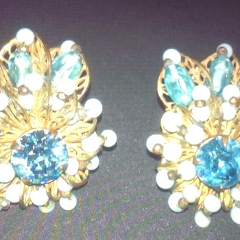 Vintage Miriam Haskell Earrings - Costume Jewelry