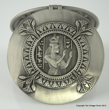 Egyptian Pharaoh Adorned Heavy Metal Compact Mirror