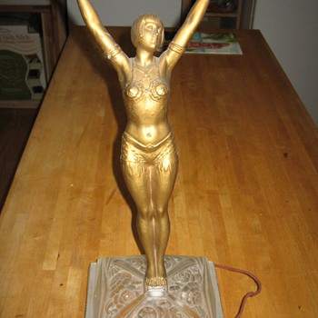 art deco semi nude  lamp