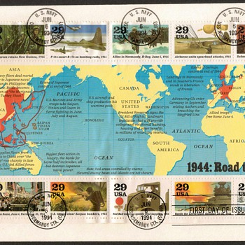 1994 - World War II Souvenir Sheet First Day Cover - Stamps