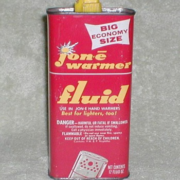 jon-e warmer fluid tin - Advertising