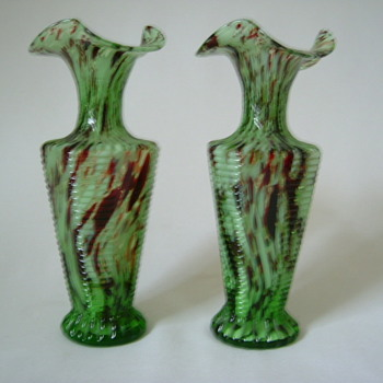 Welz Glass Vases....Oxblood and Green - Art Glass