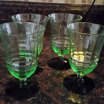 Green Vaseline glass with black bottom  - Glassware