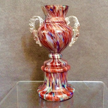 Wonderful Welz Red Blue Spatter Trophy Vase  - Art Glass