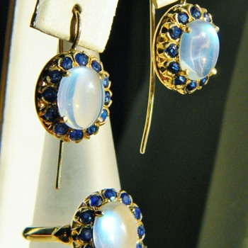 Antique Deco Ceylon Moonstone Sapphire Ring & Earring Demi Parure 14k  FOR WPJ - Fine Jewelry