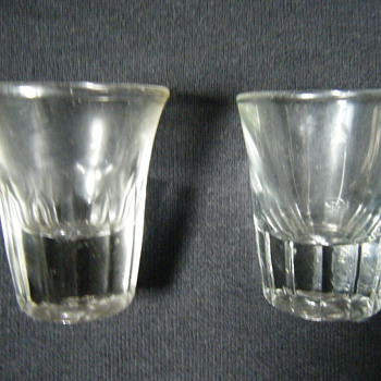"TWO VINTAGE 2 OUNCE FLUTED WHISKEY BAR SHOT GLASSES HM ""K"" - Glassware"