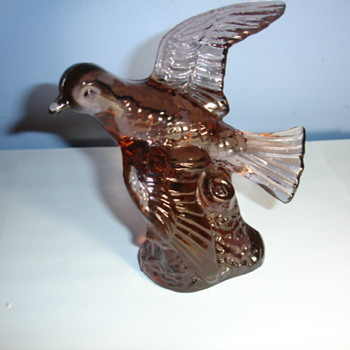 plum colored glass bird letter M on side. Who is manufacturer? age? - Art Glass