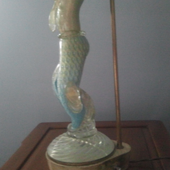 Vintage glass dancers lamps--