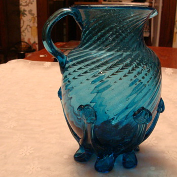 Blue Spiral Lily Pad Footed Blown Pitcher - Art Glass