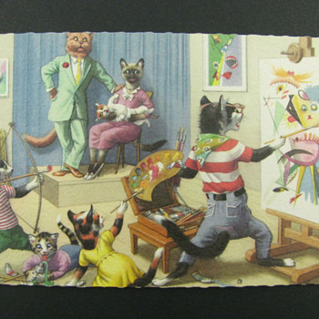Alfred Mainzer Cats Postcard- The Painter - Postcards