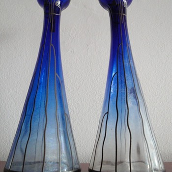 My art nouveau glass vase pair