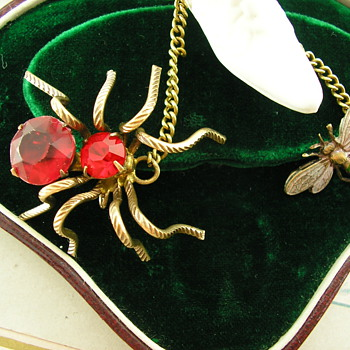 Art Deco Enamel & Paste Chatelaine Brooch Spider & Fly