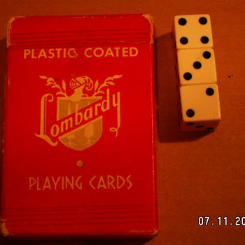 Vintage Lombardy Playing Cards & Dice - Games