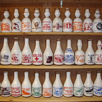 Variety of war slogan milk bottles..... - Bottles