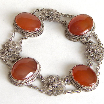 Wonderful Large Chinese Carnelian Stone Export Silver Bracelet - Marked