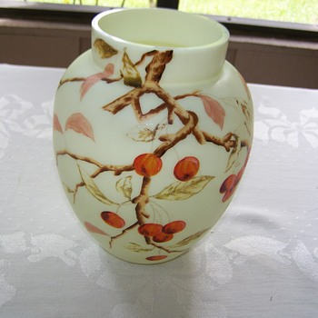 Satin Harrach Art Glass Hand Painted Vase - Art Glass