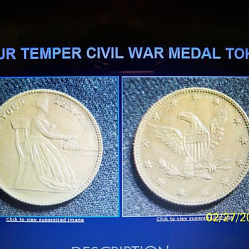 KEEP YOUR TEMPER CIVIL WAR MEDAL
