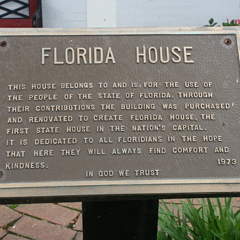 Florida House Sign in Washington, D.C. - Signs