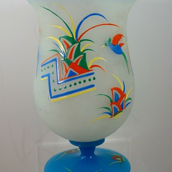 Enameled Czech Glass vase, ca. 1930s - Art Glass