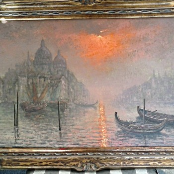 "Sunset-Sunrise The Grand Canal Venice / 24"" x 36"" Signed / Circa 1950's-1960's"