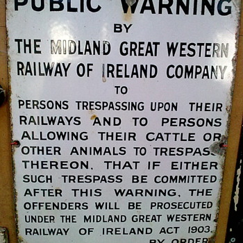 Railway sign. - Railroadiana