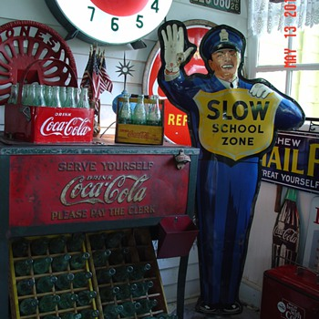 Original Coca-Cola Policeman School Crossing Guard Sign...Dated 1956 - Coca-Cola