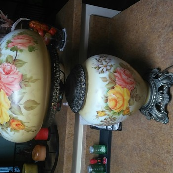 Pair of Hand Painted Lamps - Lamps