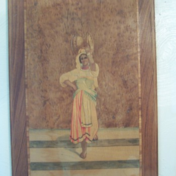 Inlaid wood painting - Folk Art