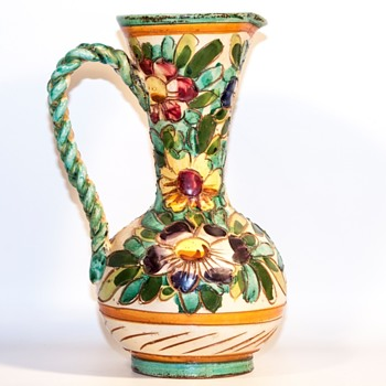 "Antique? Braided Handle Flower Pattern Pottery ""Pitcher"""