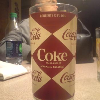 coca cola coke 12 oz. glass with diamond  design - Coca-Cola