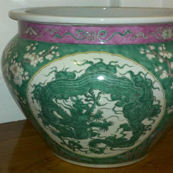 Green Chinese Porcelain Jardiniere Late 1800's -early 1900's