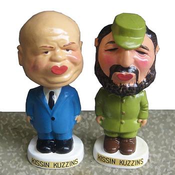 Early 1960's Nikita Khrushchev & Fidel Castro Composition Nodders - Politics